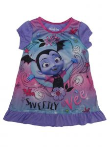 Disney Little Girls Purple Vampirina Short Sleeve Nightgown 2T-4T