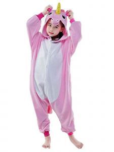 Unicorn Big Girls Pink White Long Sleeve Unicorn Romper 5-10