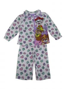 Nickelodeon Little Girls White Pink Paw Patrol Button Up 2 Pc Pajama Set 2-4T