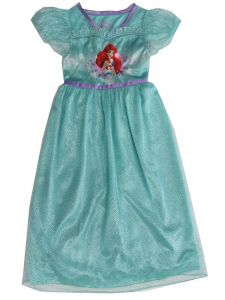 Disney Girls Blue Little Mermaid Ariel Print Short Sleeve Nightgown 4-8