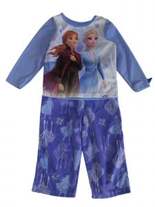 Disney Little Girls Blue White Frozen Anna Elsa Long Sleeve Pajama Set 2-4T