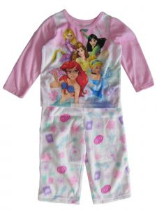Disney Little Girls Pink White Princess Print Long Sleeve Pajama Set 2-4T