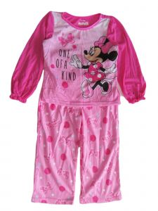 Disney Little Girls Pink Minnie Mouse Print Long Sleeve Pajama Set 2-4T