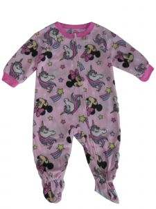 Disney Baby Girls Pink Minnie Mouse Unicorn Long Sleeve Pajama Romper 12-24M