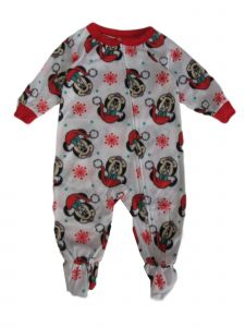 Disney Baby Girls White Minnie Mouse Icicle Long Sleeve Pajama Romper 12-24M