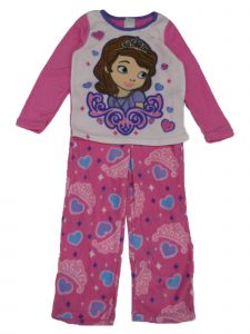 Disney Junior Big Girls White Sophia The First Fleece 2 Pcs Pajamas 8-10