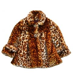 Big Girls Brown Leopard Faux Coat 7-12