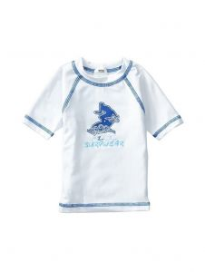 Azul Unisex Little Kids White Short Sleeve Solid UPF 50+ Rash Guard 2T-7