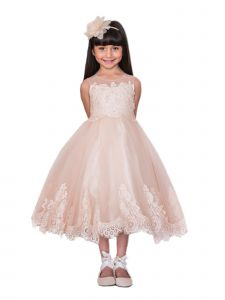 Kids Dream Big Girls Vintage Rose Lace Applique Junior Bridesmaid Dress 8-16