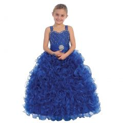 Big Girls Royal Blue Beaded Sweetheart Neckline Ruffle Pageant Dress 8-12