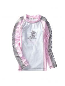 Azul Girls Pink Grey Long Sleeve Solid Combo UPF 50+ Rash Guard 2T-14