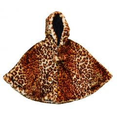 Little Girls Brown Leopard Faux Poncho 1T-6