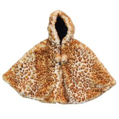 Little Girls Snow Leopard Faux Poncho 1T-6