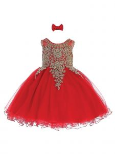 Tip Top Kids Baby Girls Red Gold Lace Tulle Short Pageant Easter Dress 6-24M
