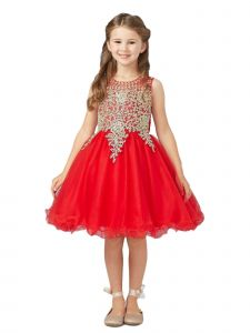 Tip Top Kids Little Girls Red Gold Lace Tulle Short Pageant Dress 4