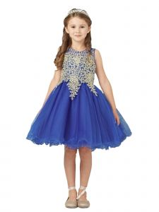 Tip Top Kids Big Girls Royal Blue Gold Lace Tulle Short Pageant Dress 8-18