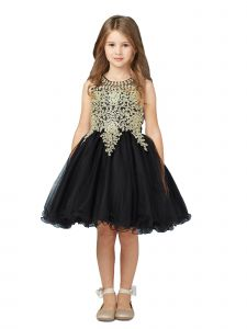 Tip Top Kids Big Girls Black Gold Lace Tulle Short Pageant Dress 8-18