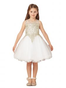 Tip Top Kids Big Girls Ivory Gold Lace Tulle Short Pageant Easter Dress 8-18