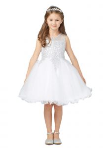 Tip Top Kids Little Girls White Gold Lace Tulle Short Pageant Easter Dress 2-6