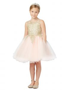 Tip Top Kids Big Girls Blush Gold Lace Tulle Short Pageant Easter Dress 8-18