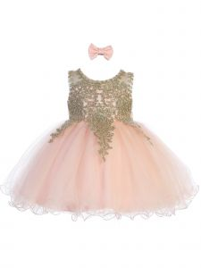 Tip Top Kids Baby Girls Blush Gold Lace Tulle Short Pageant Easter Dress 6M