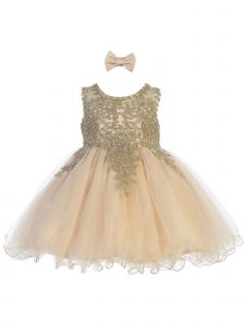 Tip Top Kids Baby Girls Champagne Gold Tulle Short Pageant Easter Dress 6-24M