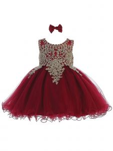 Tip Top Kids Baby Girls Burgundy Gold Tulle Short Pageant Easter Dress 6-24M