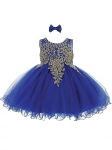 Tip Top Kids Baby Girls Royal Blue Gold Tulle Short Pageant Easter Dress 6-24M