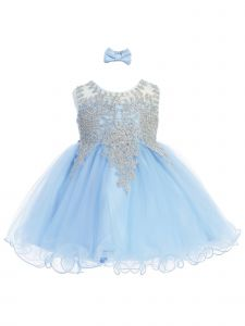 Baby Girls Sky Blue Gold Lace Rhinestone Wired Tulle Flower Girl Dress 6M-24M