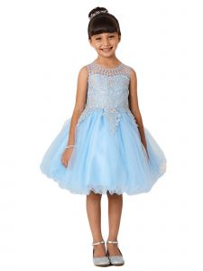 Little Girls Sky Blue Gold Lace Rhinestone Wired Tulle Flower Girl Dress 2-6