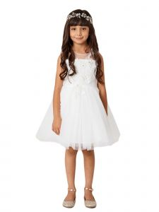 Little Girls Ivory Illusion Neck Lace 3D Flower Girl Easter Dress 6