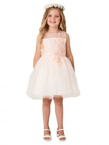 Big Girls Blush Illusion Neck Lace 3D Flower Junior Bridesmaid Easter Dress 8