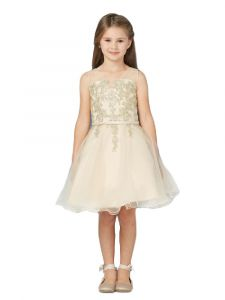 Little Girls Champagne Illusion Neck Lace Wired Tulle Flower Girl Easter Dress 4