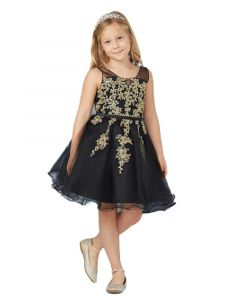 Little Girls Black Illusion Neck Lace Wired Tulle Flower Girl Easter Dress 4
