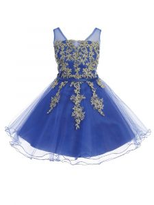 Big Girls Royal Blue Illusion Neck Wired Tulle Junior Bridesmaid Easter Dress 8