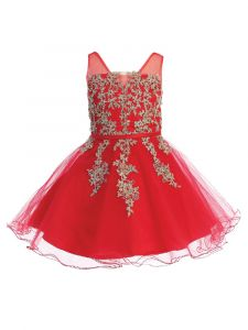 Little Girls Red Illusion Neck Lace Wired Tulle Flower Girl Easter Dress 4