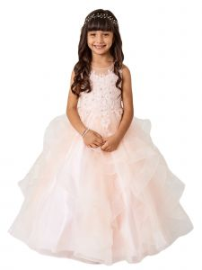 Big Girls Blush Illusion Neckline Lace Applique Trim Layered Pageant Dress 8-12