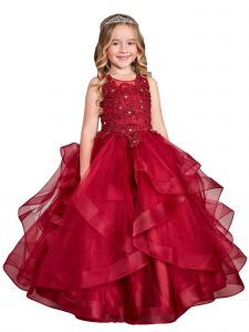 Big Girls Burgundy Illusion Neckline Lace Applique Trim Pageant Dress 8-12