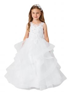 Big Girls White Illusion Neckline Lace Applique Trim Pageant Dress 8-12