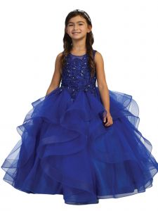 Big Girls Royal Blue Illusion Neckline Lace Applique Trim Pageant Dress 12