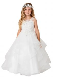 Little Girls Ivory Illusion Neckline Lace Applique Trim Pageant Dress 2-6