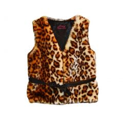Big Girls Brown Leopard Faux Vest 7-12