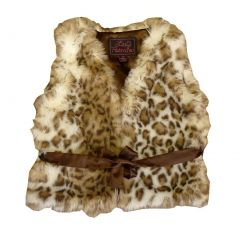 Big Girls Snow Leopard Faux Vest 7-12
