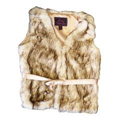 Big Girls Crystal Fox Faux Vest 7-12