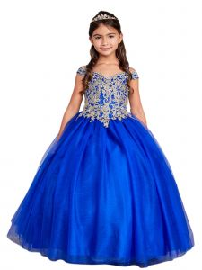 Big Girls Royal Blue Off Shoulder Metallic Lace Tulle Pageant Dress 8-16