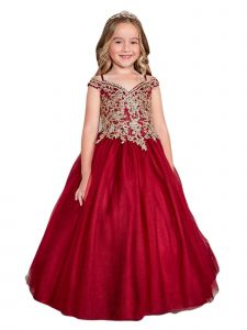 Little Girls Burgundy Off Shoulder Metallic Lace Tulle Pageant Dress 2-6