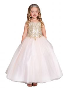 Girls Multi Color Off Shoulder Metallic Lace Tulle Pageant Dress 2-16