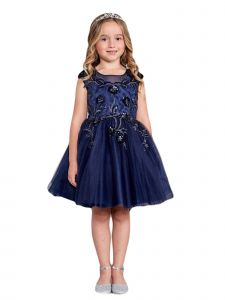 Little Girls Navy Blue Illusion Neck Sequin Floral Flower Girl Dress 2-6