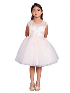 Girls Multi Color Illusion Neck Sequin Floral Junior Bridesmaid Dress 2-12