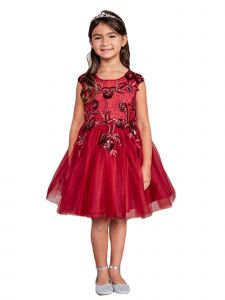 Little Girls Burgundy Illusion Neck Sequin Floral Flower Girl Dress 6
